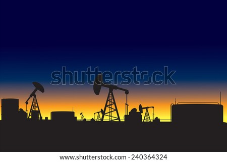 Oil refinery and oil pumps silhouettes at dawn vector illustration