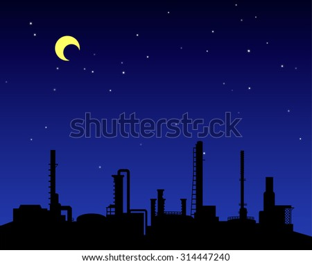 Oil refinery industry silhouette in night time landscape style - stock vector