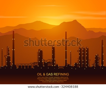 Oil refinery or chemical plant silhouette with night lights in mountains  at sunset. Detail vector illustration. - stock vector