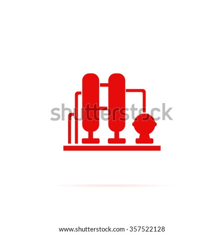 Oil refining factory icon - stock vector