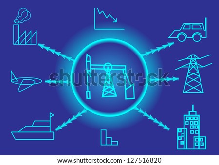 Oil rig - stock vector