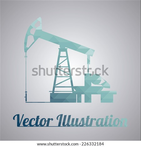 Oil rig over gradient background - stock vector