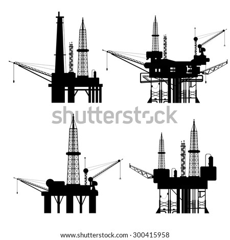 Oil rig silhouette set 4 in 1 on white background for artwork design - stock vector