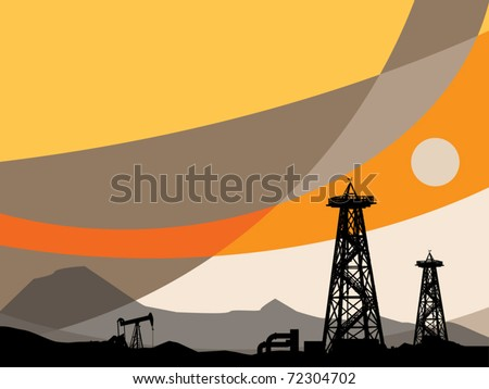 Oil rig silhouettes and abstract sky, vector illustration - stock vector