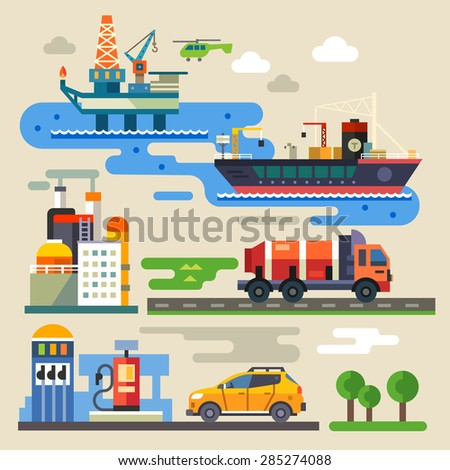 Oil rig, transportation, car refueling. Industry and environment. Color vector flat illustration - stock vector