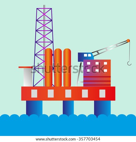 Oil rig vector illustration - stock vector