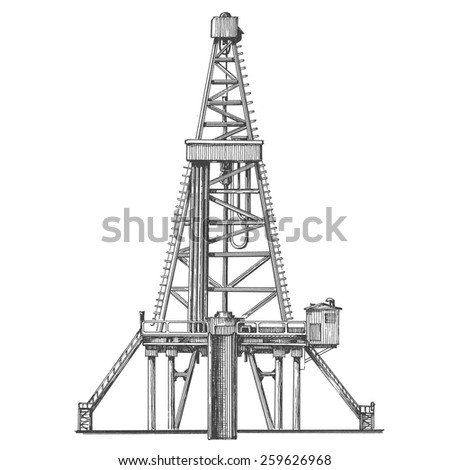 oil rig vector logo design template. petroleum or industry icon. - stock vector