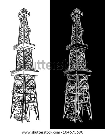 Oil Rig. Vector sketch. - stock vector