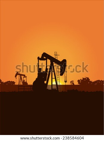 Oil rigs on the horizon at sunset - stock vector