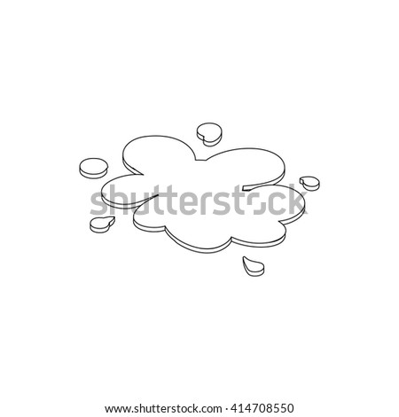 Oil spill icon, isometric 3d style - stock vector