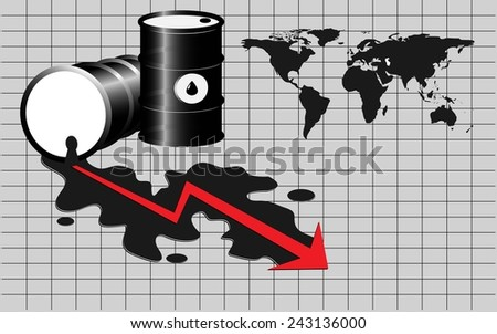 Oil spill with world map and red arrow - stock vector