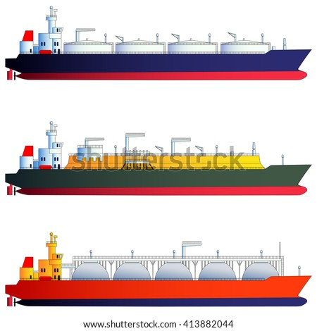 Oil tanker and gas tankers, LNG carriers. Vector illustration, isolated on white. Flat style, side-view silhouettes