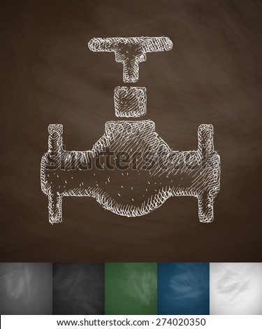 oil valve icon. Hand drawn vector illustration. Chalkboard Design - stock vector