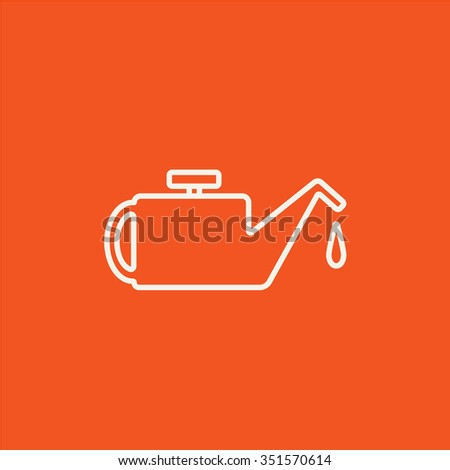 Oiler line icon for web, mobile and infographics. Vector white icon isolated on red background. - stock vector