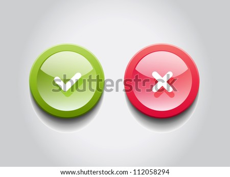 OK and Cancel vector round glossy web buttons - stock vector