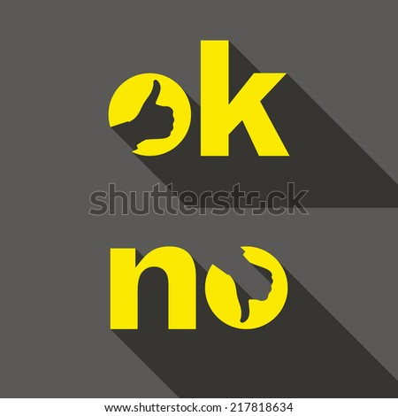 Ok and No symbol signs. Thumb up and down icons. Vector illustration for your design. - stock vector