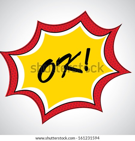 ok comic icon over dotted background vector illustration  - stock vector