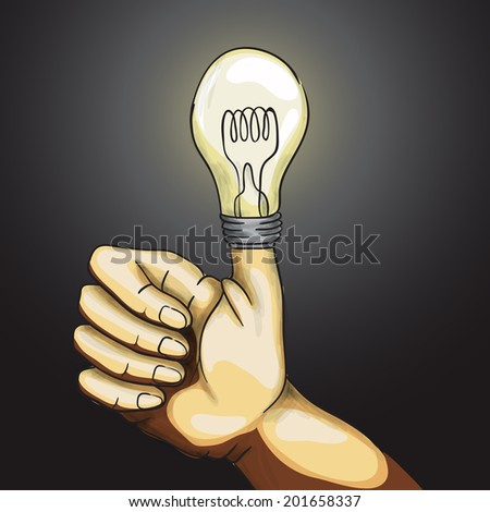Ok Hand Lamp Bulb, Eps 10 Vector Illustration