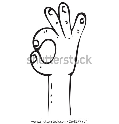 OK Hand Sign Doodle - stock vector