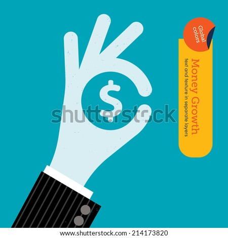 Ok hand with dollar sign. Vector illustration Eps10 file. Global colors. Text and Texture in separate layers. - stock vector