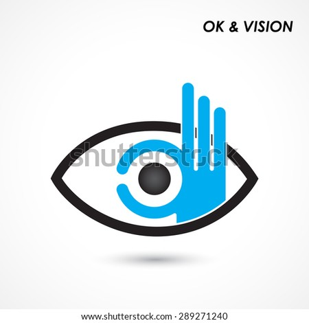 Ok hand with eye sign. Business and vision concept. Company logo,hand Ok symbol icon. Creative logo design template,design element. Vector illustration - stock vector