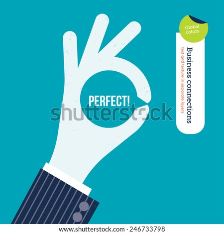 OK hand with message symbol and the word perfect inside. Vector illustration Eps10 file. Global colors. Text and Texture in separate layers. - stock vector