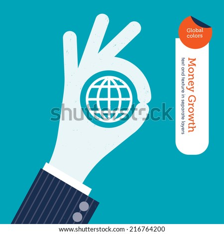 Ok hand with planet symbol. Vector illustration Eps10 file. Global colors. Text and Texture in separate layers. - stock vector