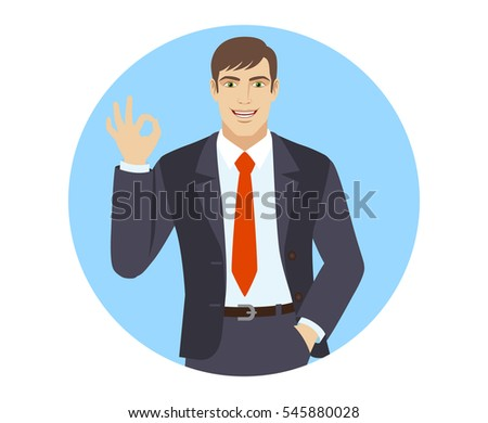 OK! Smiling businessman show a okay hand sign. Portrait of businessman in a flat style. Vector illustration.