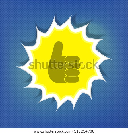 Ok sunny symbol over blue sky - stock vector