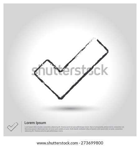 ok tick Icon, Sketch Doodle pictogram icon on gray background. Vector illustration - stock vector
