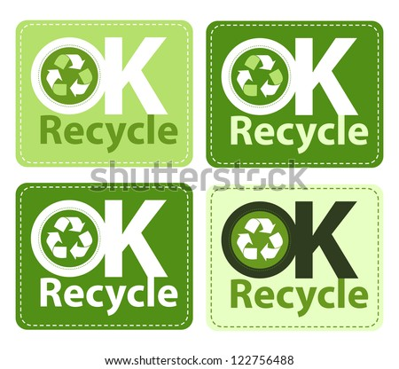 OK to Recycle stickers. - stock vector