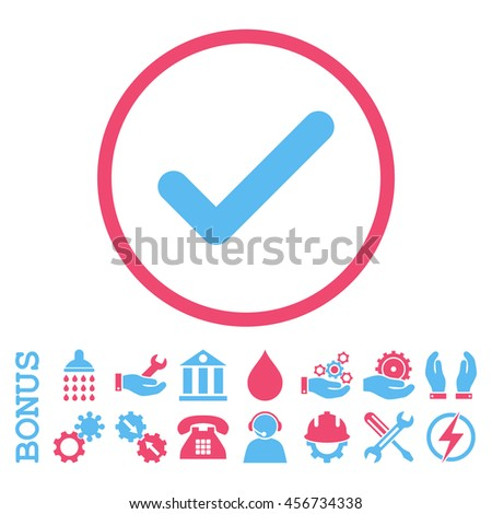 Ok vector bicolor icon. Image style is a flat pictogram symbol inside a circle, pink and blue colors, white background. Bonus images are included. - stock vector