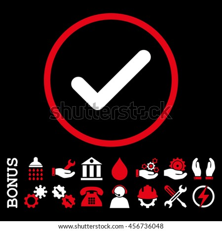 Ok vector bicolor icon. Image style is a flat pictogram symbol inside a circle, red and white colors, black background. Bonus images are included. - stock vector