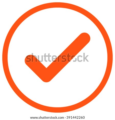 Ok vector icon. Style is flat rounded iconic symbol, ok icon is drawn with orange color on a white background. - stock vector