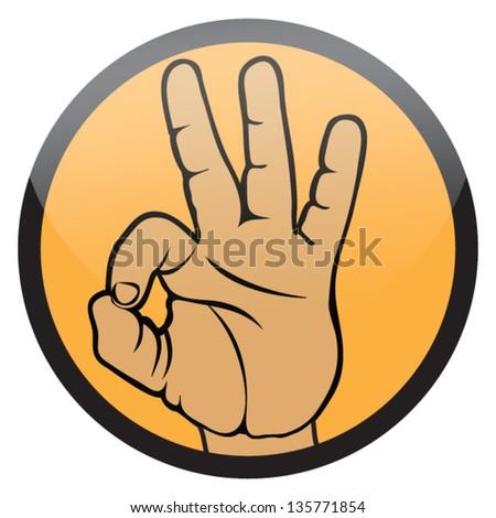 okay hand sign (ok hand symbol,emblem) - stock vector