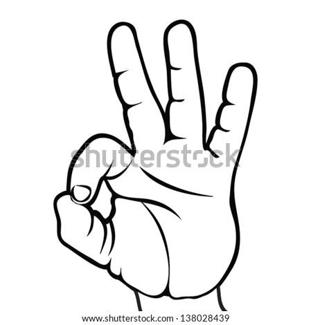 Okay Hand Sign Ok Hand Symbolemblem Stock Vector 138028439 ...
