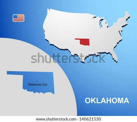 Oklahoma on USA map with map of the state