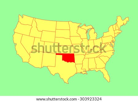Oklahoma State, USA, vector map isolated on United states map. Editable blank vector map of USA. - stock vector