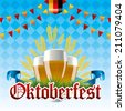 Oktoberfest Background with Beer, Grains and Flags - stock vector