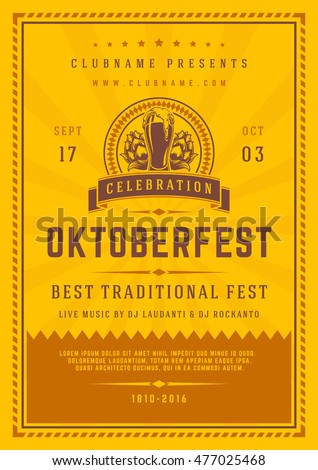 Oktoberfest beer festival celebration poster or flyer template retro typography. Vector illustration.
