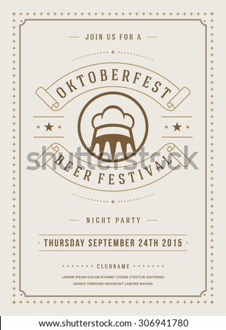 Oktoberfest beer festival celebration retro typography poster or flyer template.  Textured background vector illustration. - stock vector