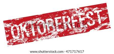 Oktoberfest beer festival logo, vector red and white text