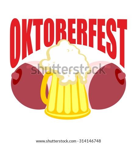 Oktoberfest. Beer mug between tits. Symbol of Beer Festival in Germany. - stock vector