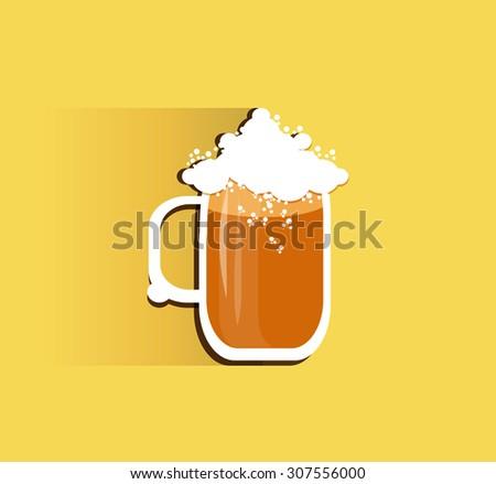 Oktoberfest beer mug with long shadow. Vector illustration. - stock vector