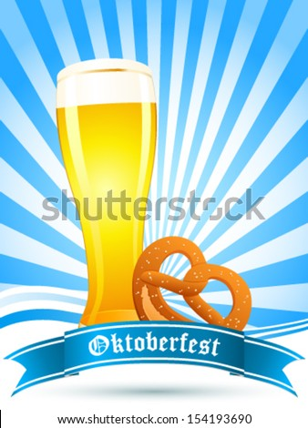 Oktoberfest card with beer glass and pretzel - stock vector
