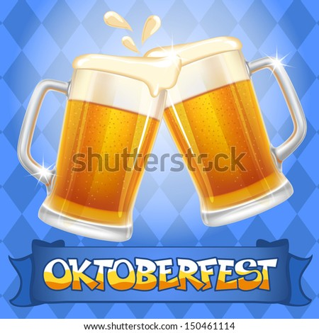 Oktoberfest celebration vector background with two beer mugs. - stock vector