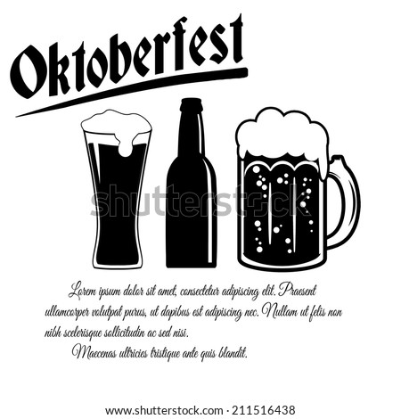 Oktoberfest design poster on white background with space for your text, vector illustration
