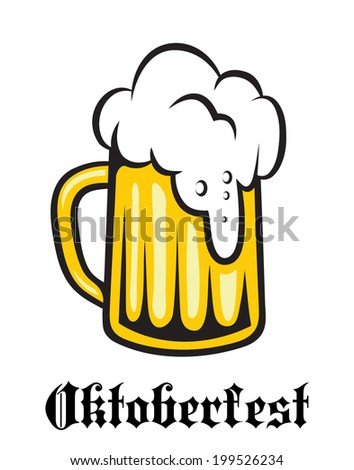 Oktoberfest emblem or label with a tankard of golden lager overflowing with froth and the word - Oktoberfest - below - stock vector