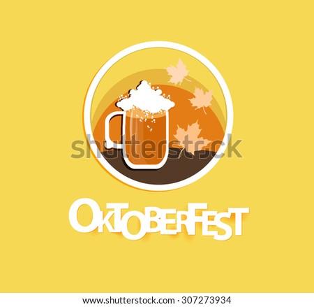 Oktoberfest festive icon in round shape.Vector illustration. - stock vector