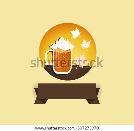 Oktoberfest festive icon in round shape with flat ribbon for your text.Vector illustration. - stock vector